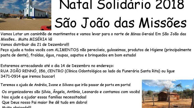 SINDVAS apoia campanha Natal Solidário 2018 São João das Missões