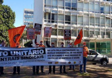 Centrais fazem ato em Brasília por emprego e renda durante a crise da Covid-19